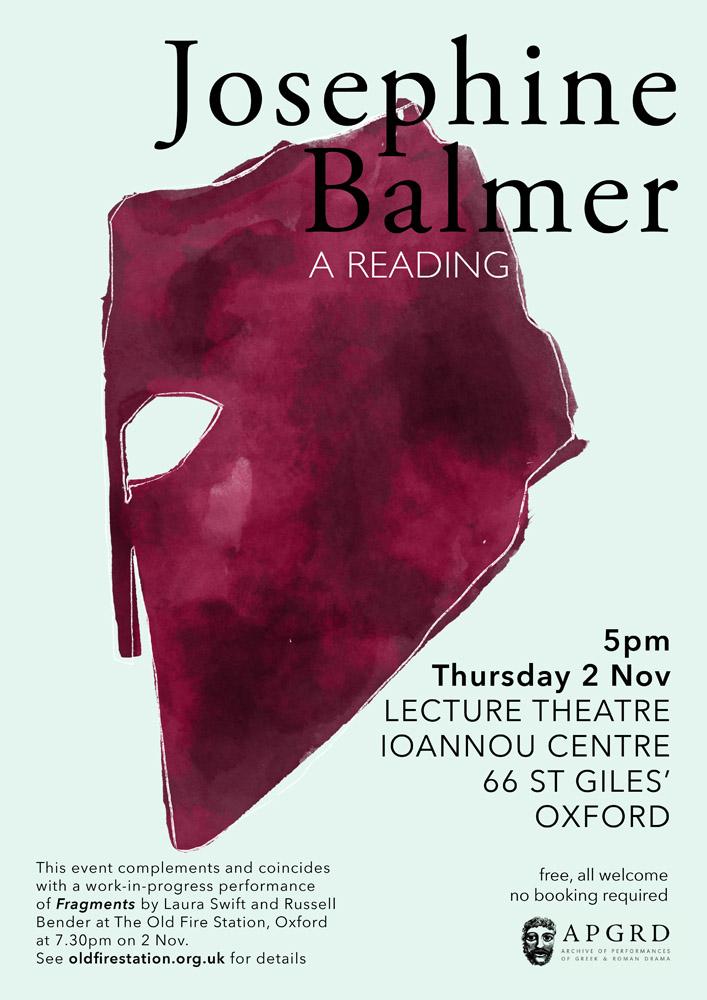 Poster for Josephine Balmer reading