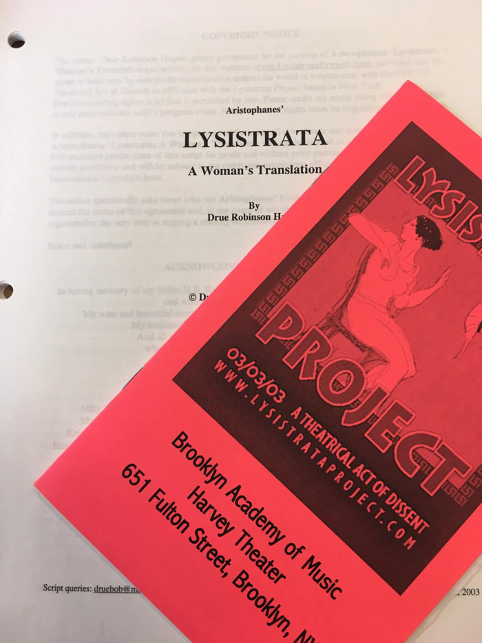 Lysistrata Project programme from the Brooklyn Academy of Music and script titled, Lysistrata a woman's translation