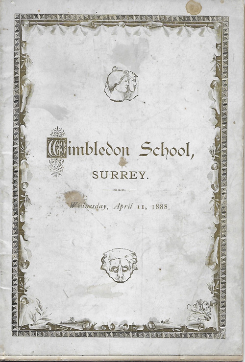 Photograph of the front cover of Wimbledon School programme notes