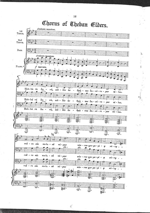 Photograph of the opening page of the 'Chorus of Theban Elders' score from inside the programme