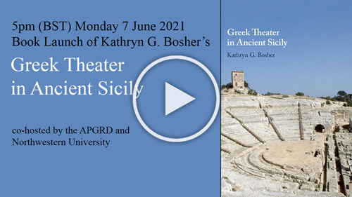 Front cover of Kathryn Bosher's Greek Tragedy in Ancient Sicily book, linking to YouTube Book Launch event