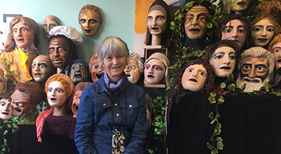 Photograph of Chris Vervain surrounded by theatre masks, links to blog post
