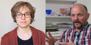 Photographs of Estelle Baudou (left) and Struan Leslie (right), links to podcast page