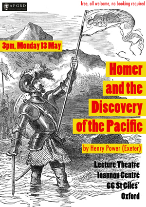 Poster for Henry Power's 2019 lecture at the APGRD