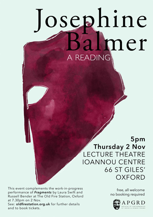 Poster for Josephine Balmer's 2017 reading at the APGRD