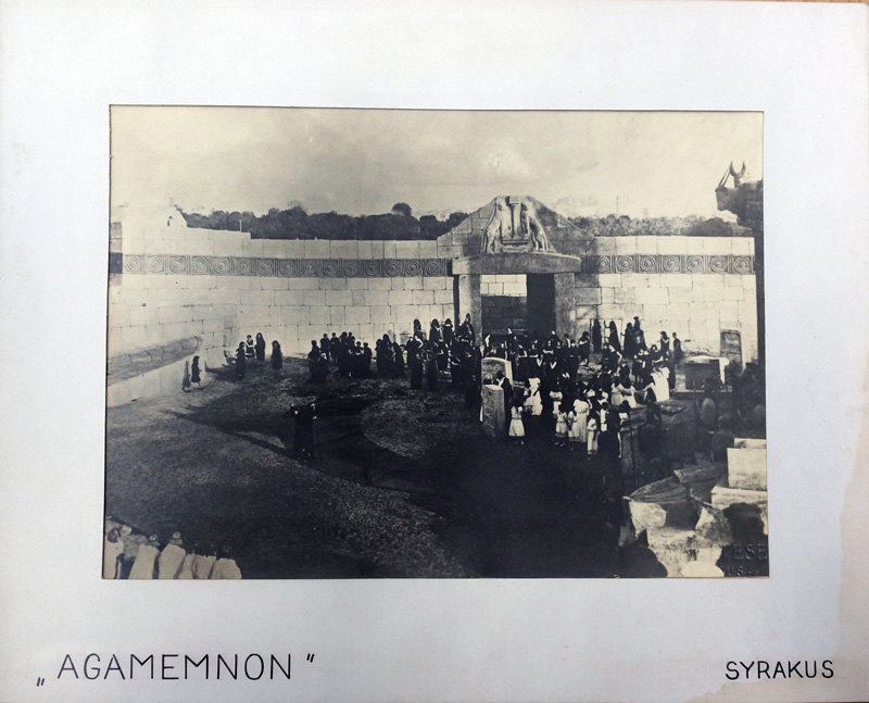 Black and white photographs of the set of the 1914 Agamemnon at Syracuse