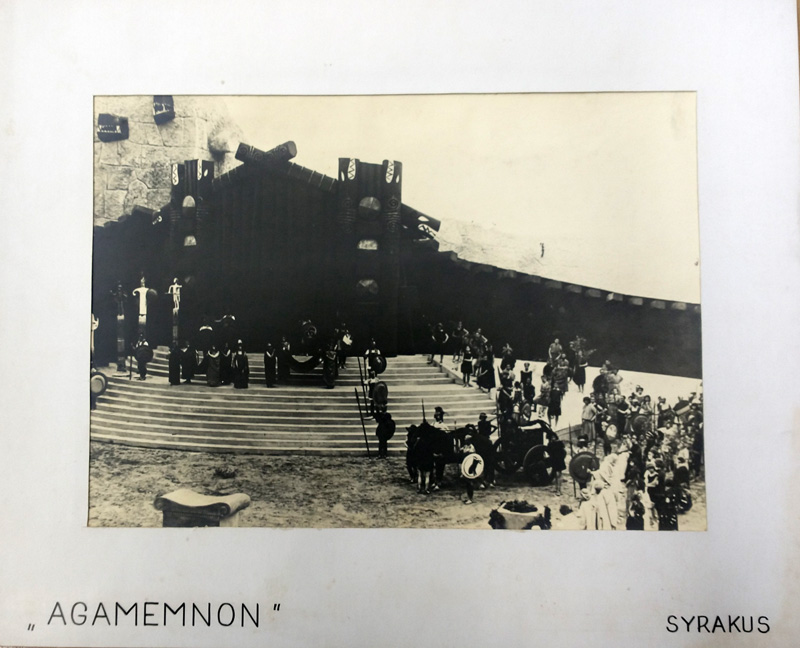 Black and white photographs of the set of the 1930 Agamemnon at Syracuse