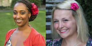 Photographs of Mai Musié (left) and Arlene Holmes-Henderson (right), links to podcast page