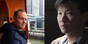 Headshots of Professor Mike Lippman and the director Patrick Wang