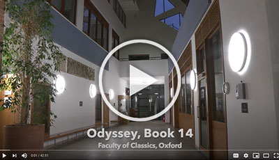 Screenshot of film of Odyssey Book 14 recorded at the Classics Faculty, Oxford