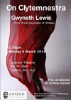 Poster for Gwyneth Lewis' 2015 talk at the PAGRD