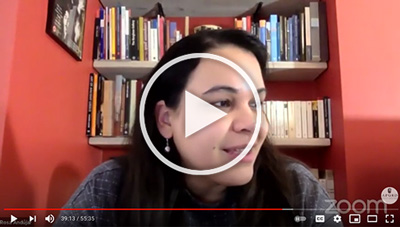 Screenshot of Rosa Andújar's online lecture, links to YouTube
