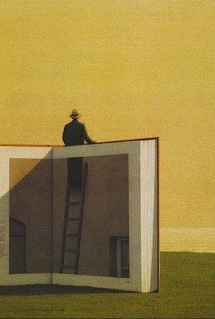 Man standing on ladder looking out over book