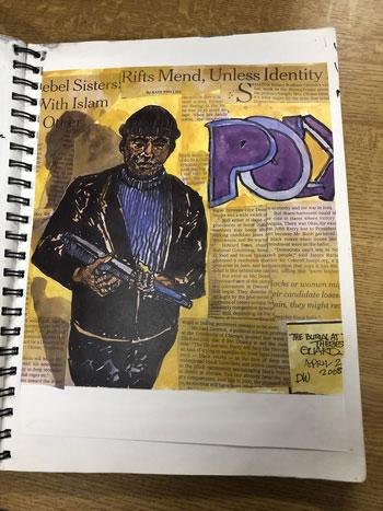 Photograph of Derek Walcott's sketchbook; designs © Derek Walcott