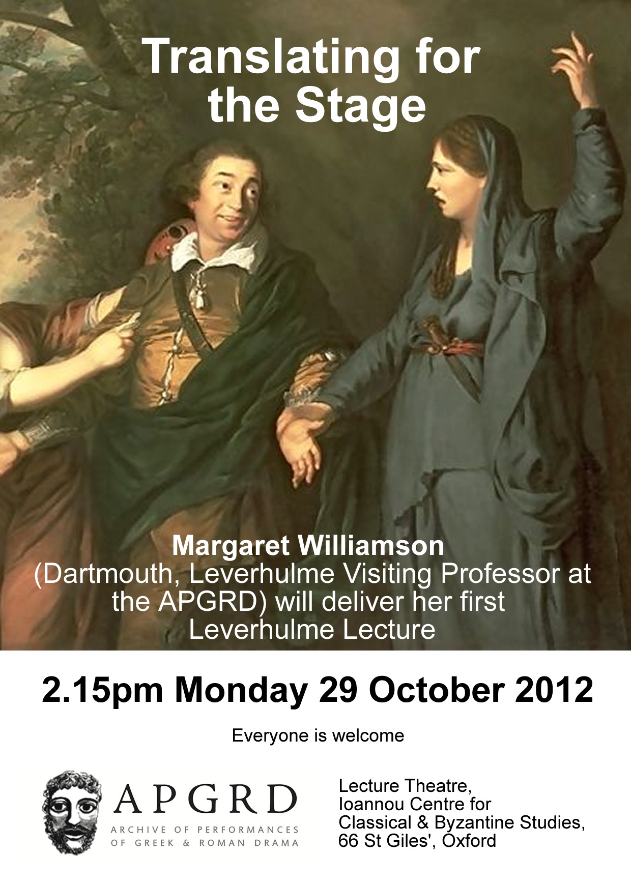 Poster for Margaret Williamson's Leverhulme lecture