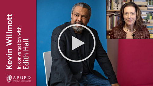 Poster for Kevin Willmott in conversation with Edith Hall, links to YouTube