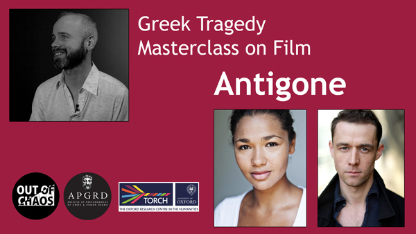 Poster for Antigone Masterclass, with photos of Paul O'Mahony, Evelyn Miller, and Tim Delap.