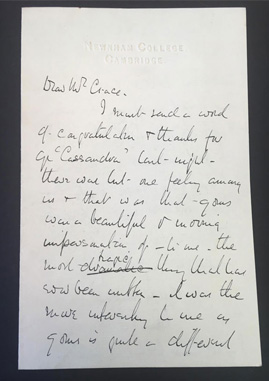 Photograph of letter from Jane Ellen Harrison to J.F. Crace, dated November 1900