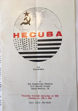Photograph of the cover of the programme notes for Manara Productions' Hecuba, 1987