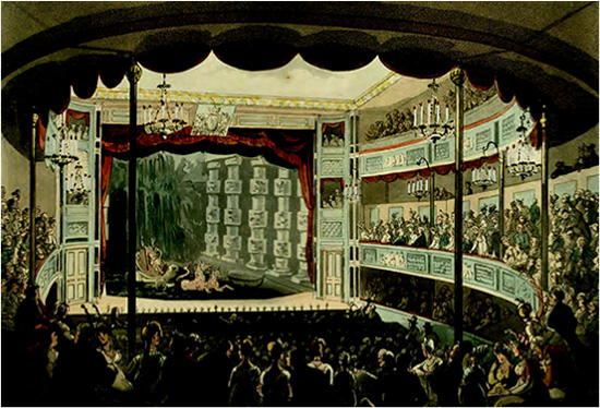 Engraving from Microcosm of London (1809, Plate 69) of the pool at Sadler's Wells