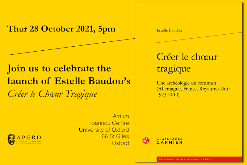 Invite to book launch; black text on yellow background repeats the details listed on the page
