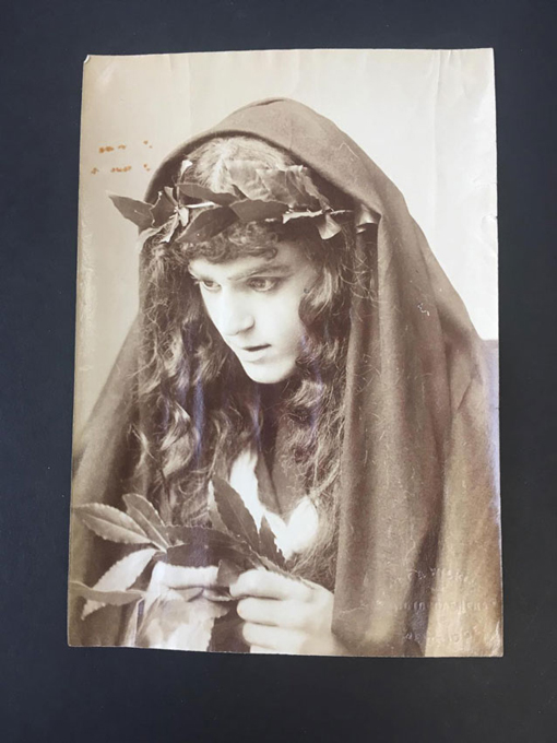 Photograph of J.F. Crace as Cassandra in the 1900 Cambridge Agamemnon; APGRD Collections