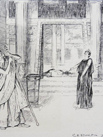 Illustration, by CE Brock, of the 1900 Cambridge Greek Play: Agamemon