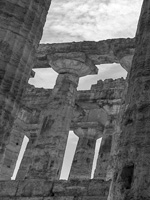Close-up photograph of ruins of Paestum