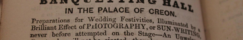 Close up of 1865 play text, Robert Brough's Medea