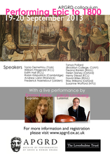 'Performing Epic to 1800' Colloquium