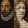 Portraits of Montaigne and Racine, overlaid with sixteenth century printed Greek text
