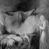 Black and white sketch by George Romney of the The Ghost of Darius Appearing to Atossa