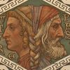 Detail of painted ceiling in Waltham Abbey Parish Church, depicting Janus, photograph by Steve Day