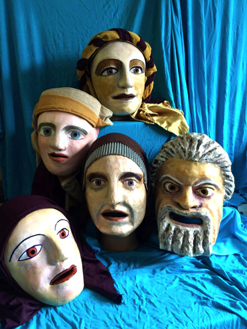 A collection of five theatrical masks by Chris Vervain