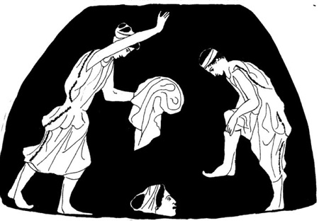 Drawing by Chris Vervain depicting two performers preparing for masked roles in a female chorus, after the Boston Pelike